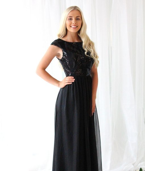 Alila-Black-Sequin-Chiffon-Bridesmaid-Dress-Bariano-gown
