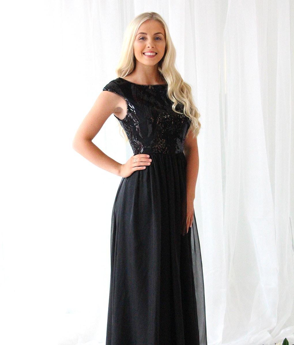 Alila-Black-Sequin-Chiffon-Debs-Dress-Bariano-gown