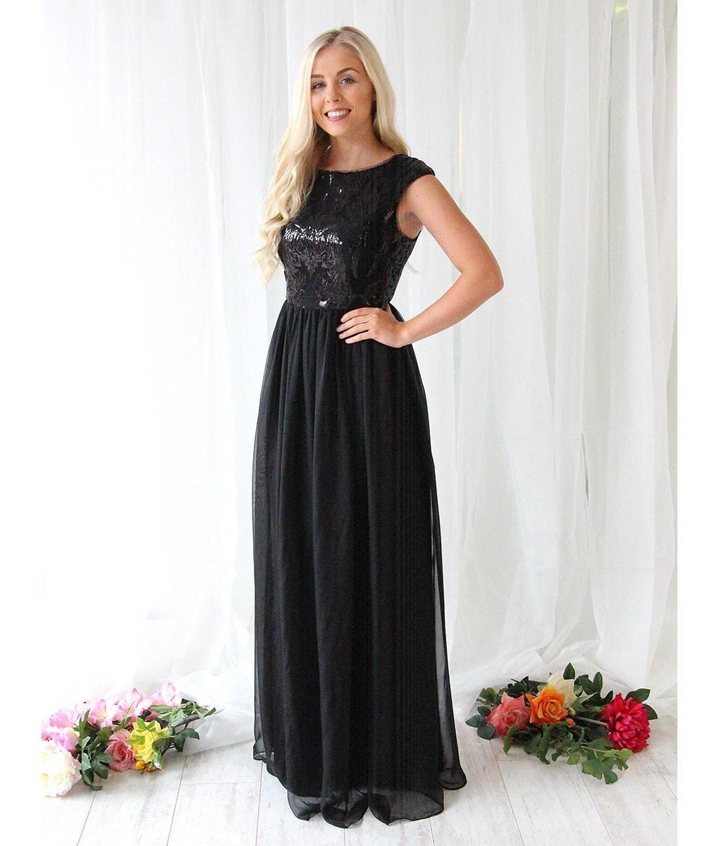 Alila-Black-Sequin-Chiffon-Debs-Dress-Bariano