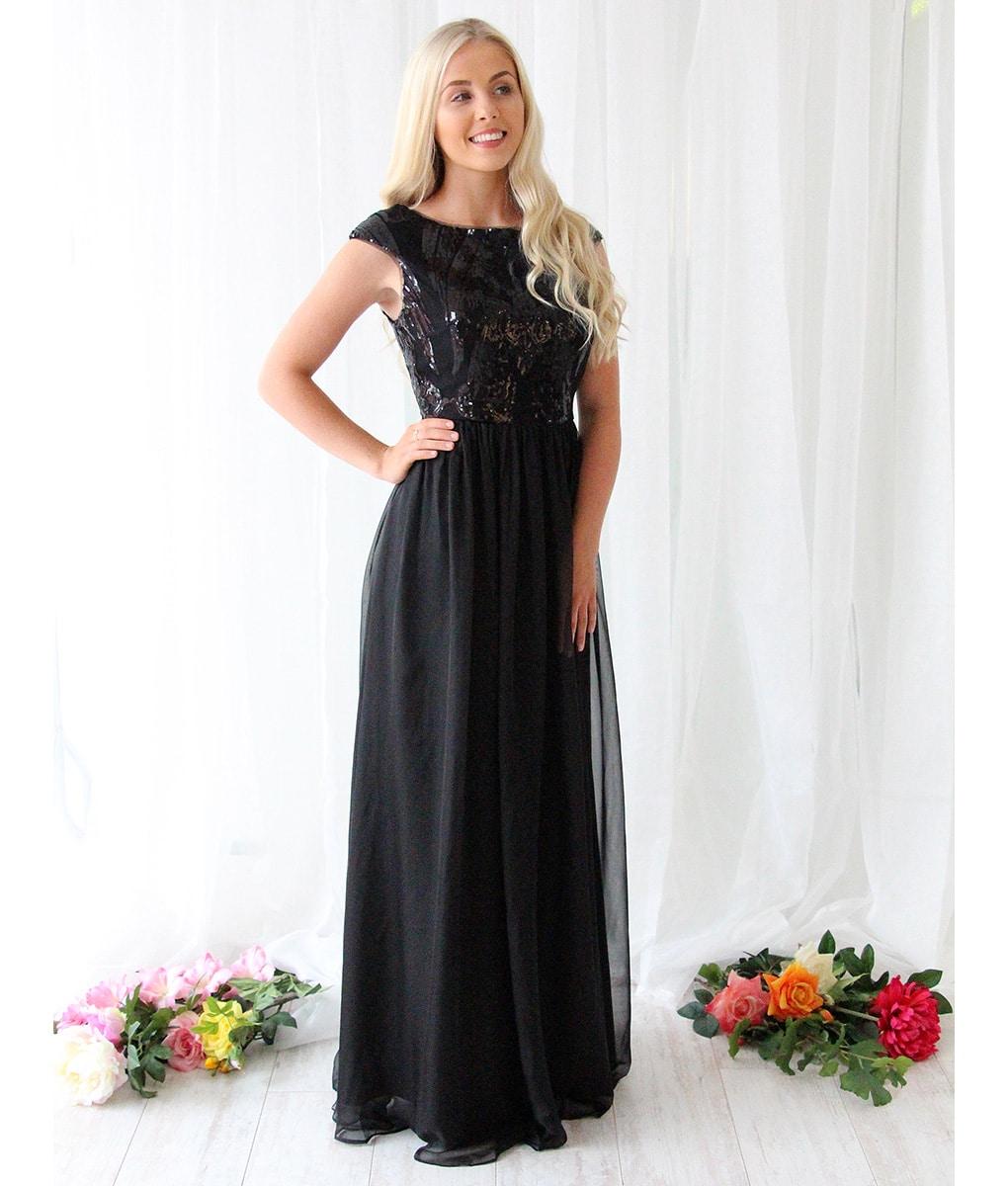 Alila-Black-Sequin-Chiffon-Long-Dress-Bariano