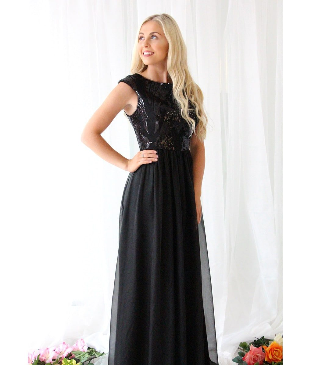 Alila-Black-Sequin-Chiffon-Long-Evening-Dress-Bariano