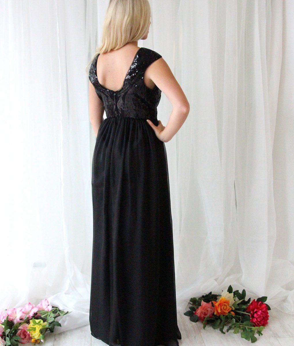 Alila-Black-Sequin-Chiffon-Long-evening-Dress-Bariano-back