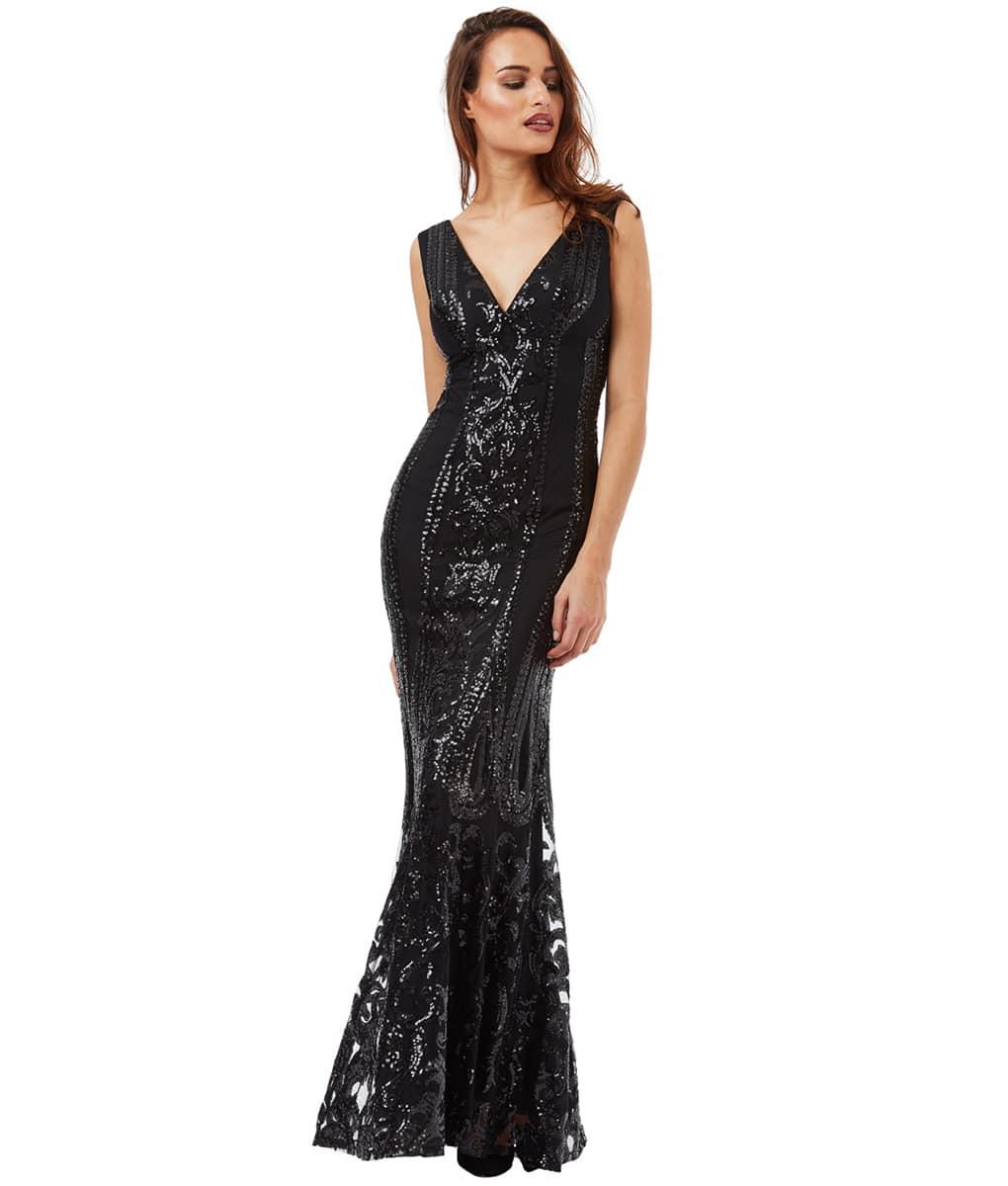 Alila-Black-Sequin-pattern-debs-dress-city-goddess