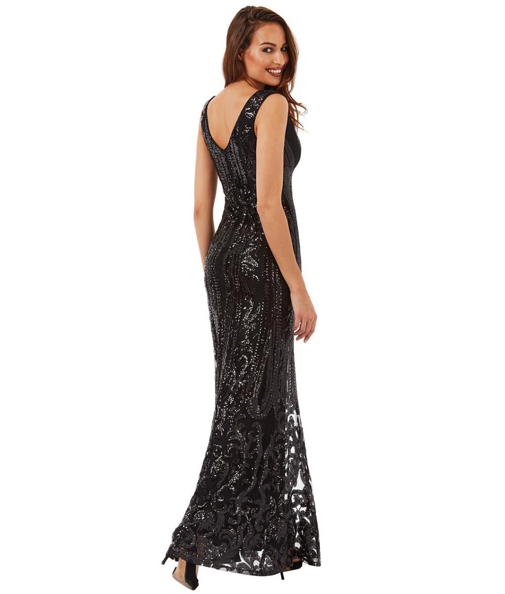 Alila-Black-Sequin-pattern-plunge-neck-debs-dress-city-goddess