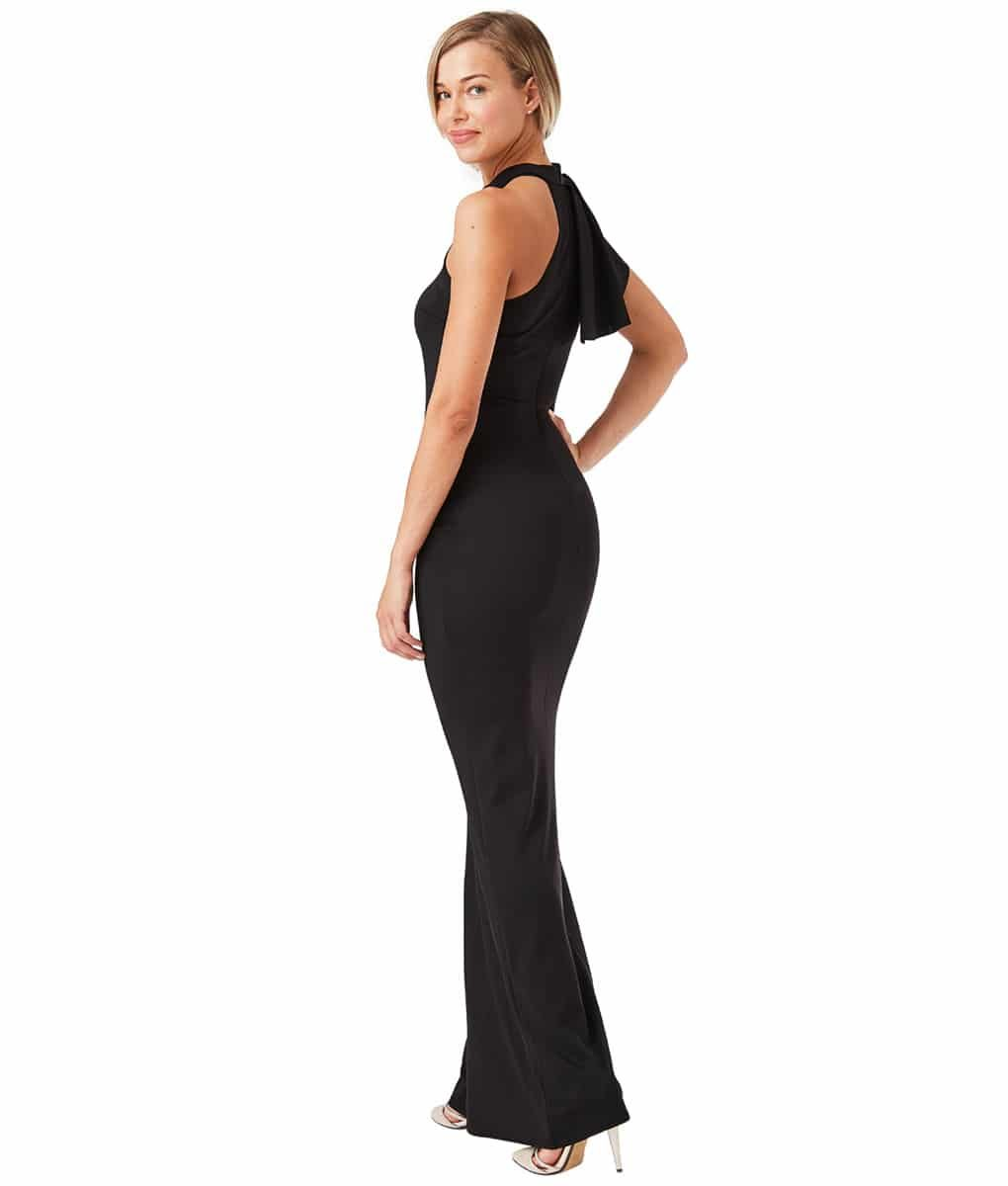 City Goddess - Black Ruffle Collar Gown
