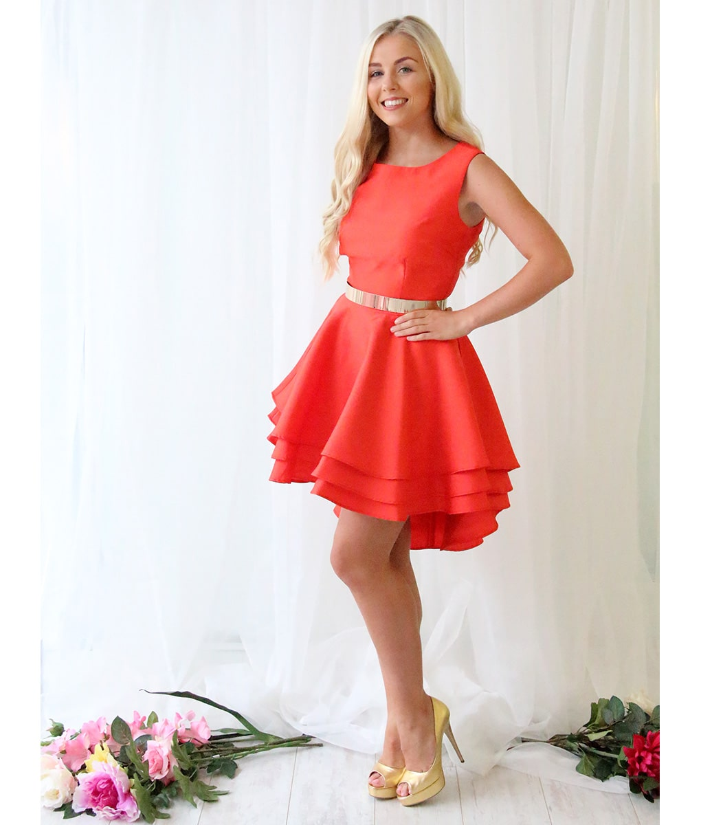 Alila-Bright-red-ruffle-dress-City-Goddess-with-belt