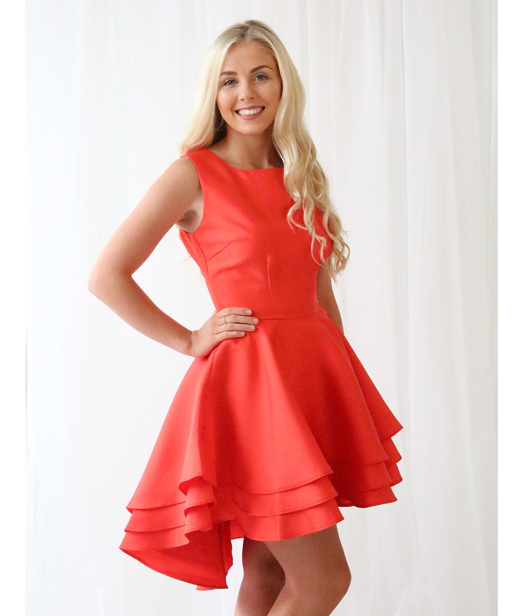 Alila Red Ruffle Mini Dress