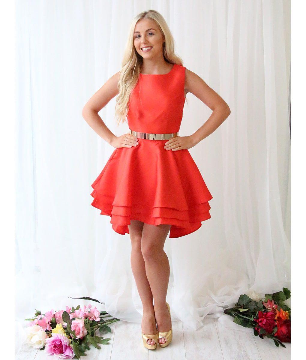 Alila Red Ruffle Mini Dress