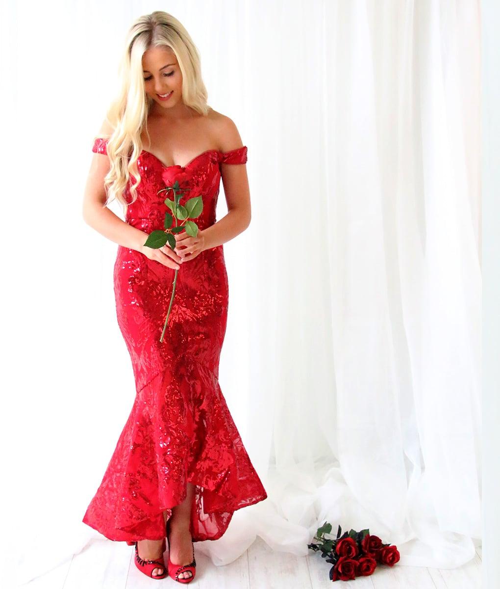 Alila-Burgundy-Sequin-Fishtail-Dress-Bariano-Dress