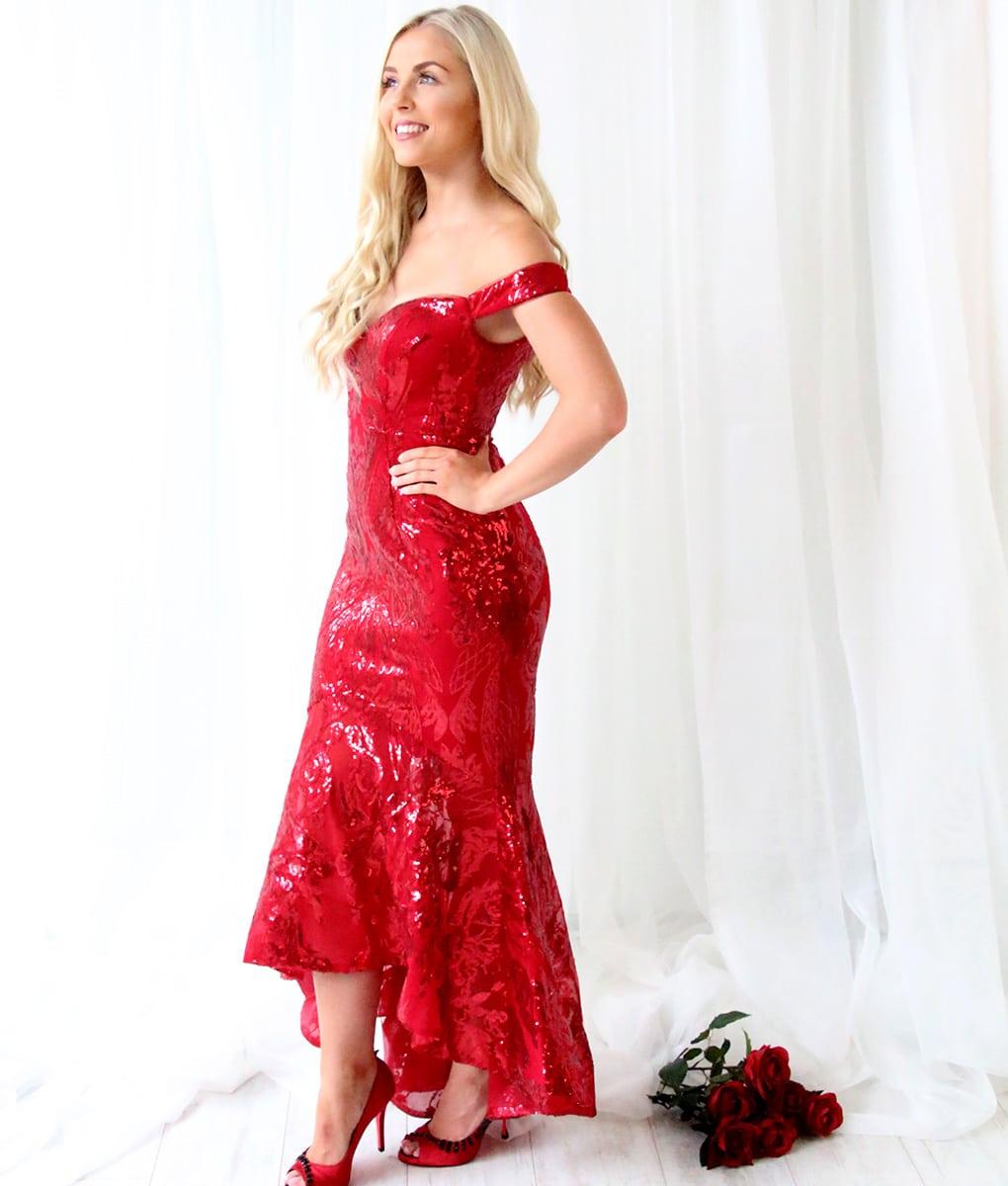 Alila-Burgundy-Sequin-Fishtail-Dress-Bariano