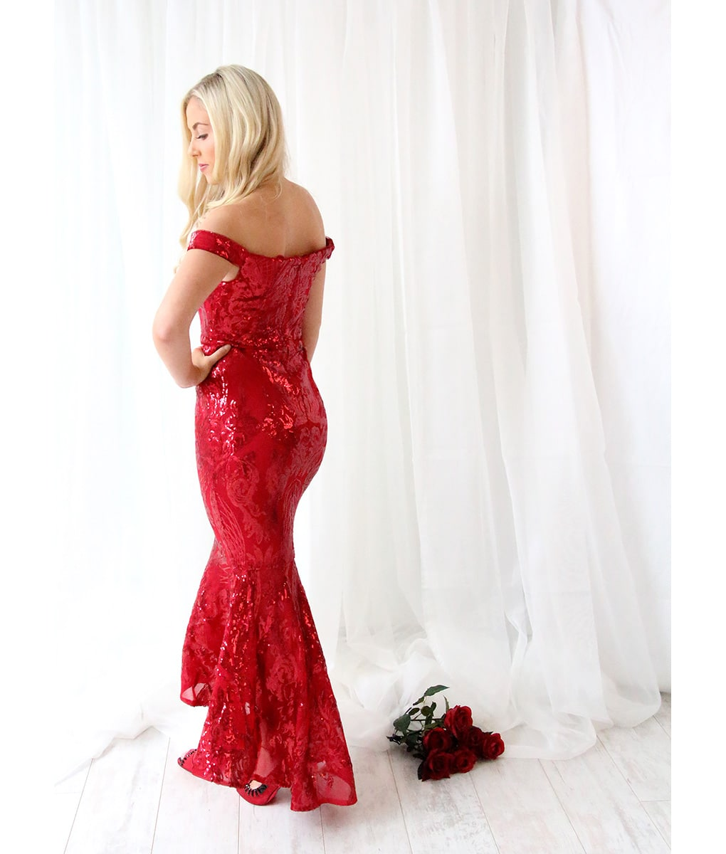 Alila-Burgundy-Sequin-Fishtail-Dress-by-Bariano-back