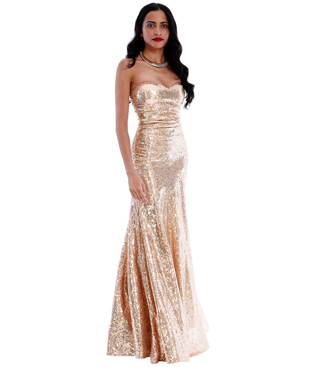 City Goddess - Champagne Sweetheart Strapless Sequins Gown | Alila ...