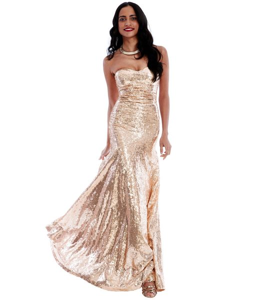 Alila Champagne Sweetheart Sequins gown