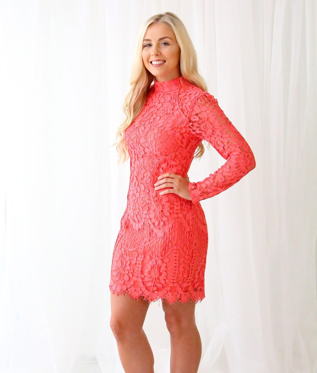 Alila Coral Long Sleeved Lace Mini Dress