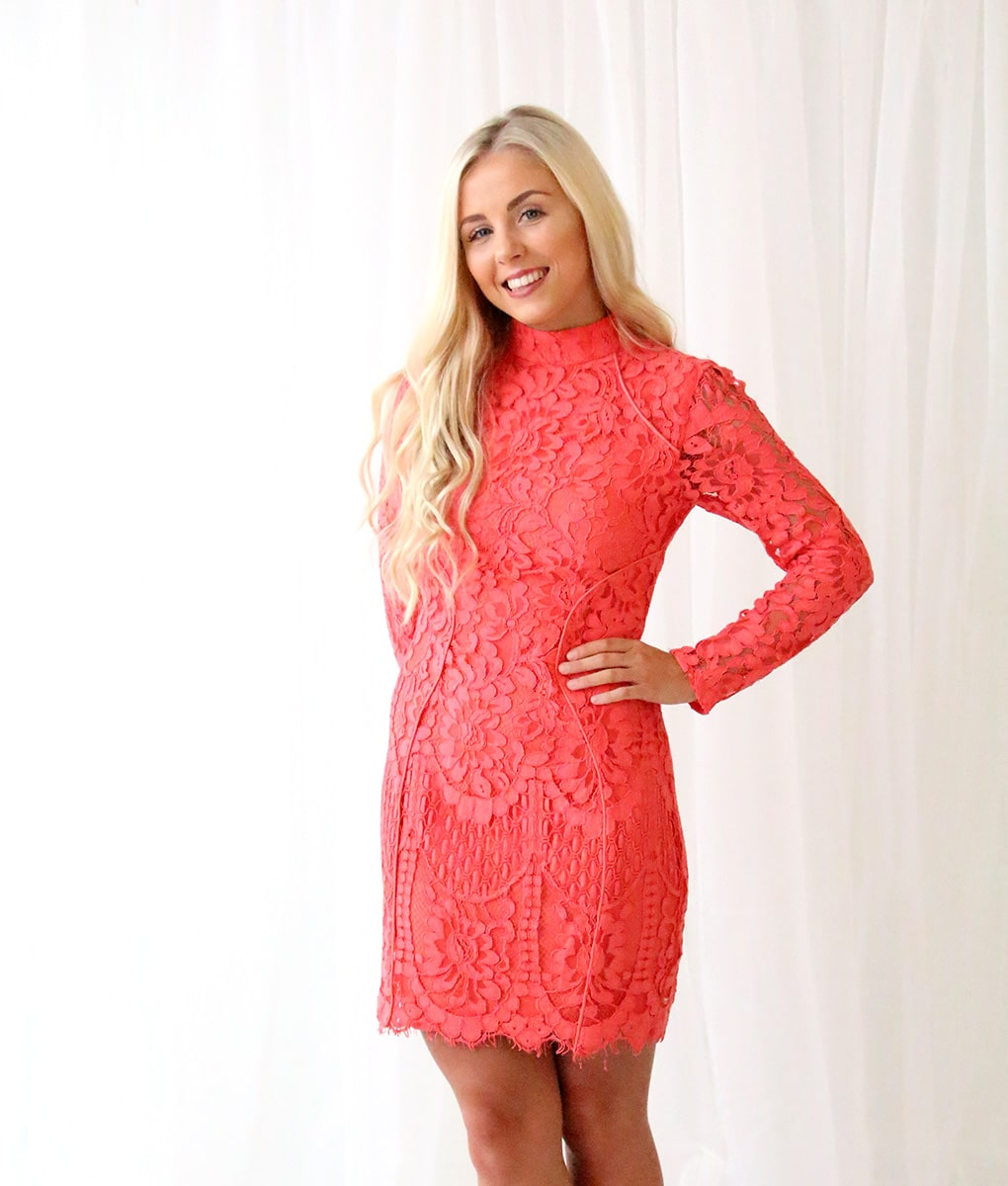 Lumier Bariano Coral Lace Long Sleeved Dress