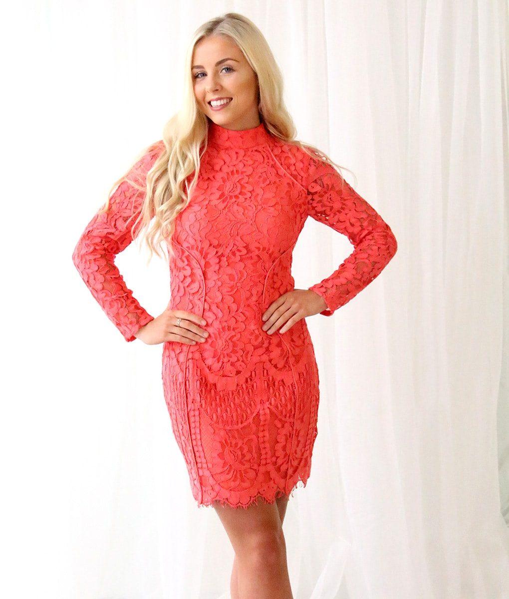 Alila Coral Long Sleeved Lace Mini Dress