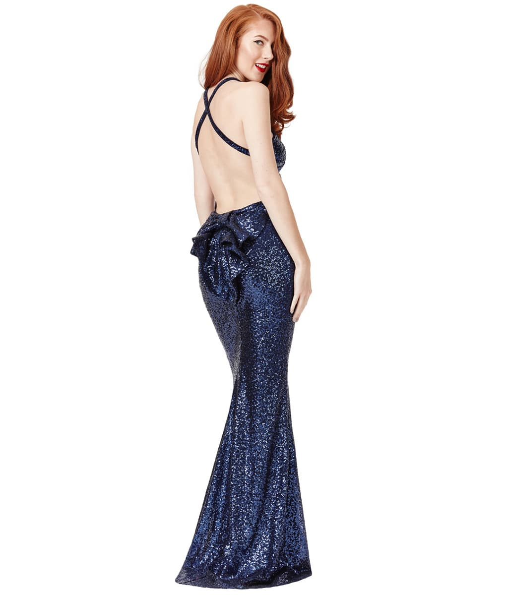 City Goddess - Navy Sequin Bow Detail Gown | Alila