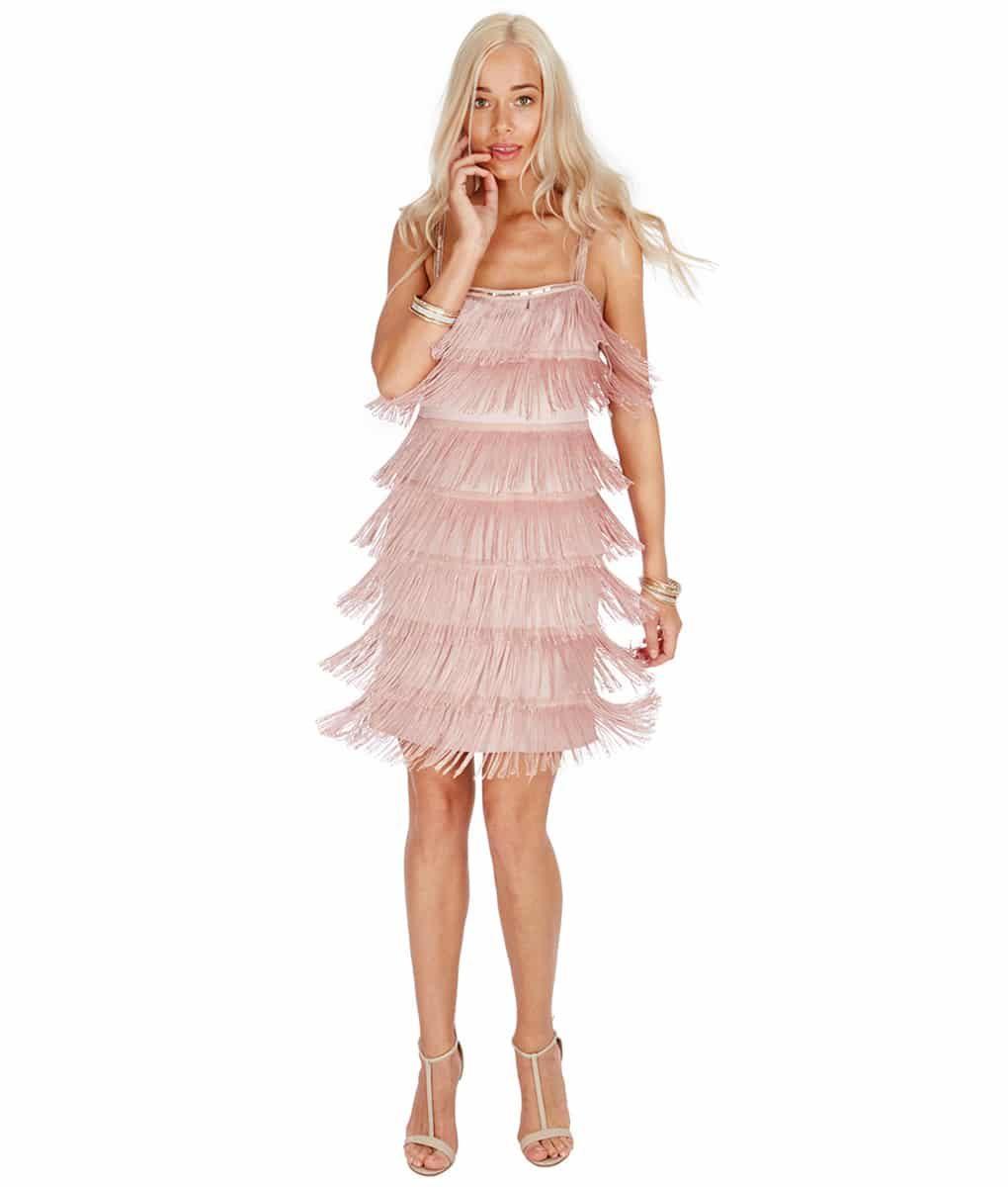 City Goddess - Nude Flapper Dress