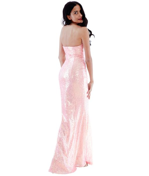 Alila Peach Sequin gown city goddess