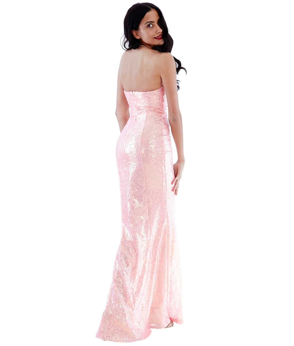 Alila-Peach-pink-sequin-strapless-debs-dress-city-goddess