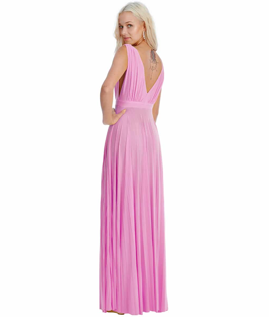 Alila-Pink-plunge-neck-bridesmaid-dress-city-goddess