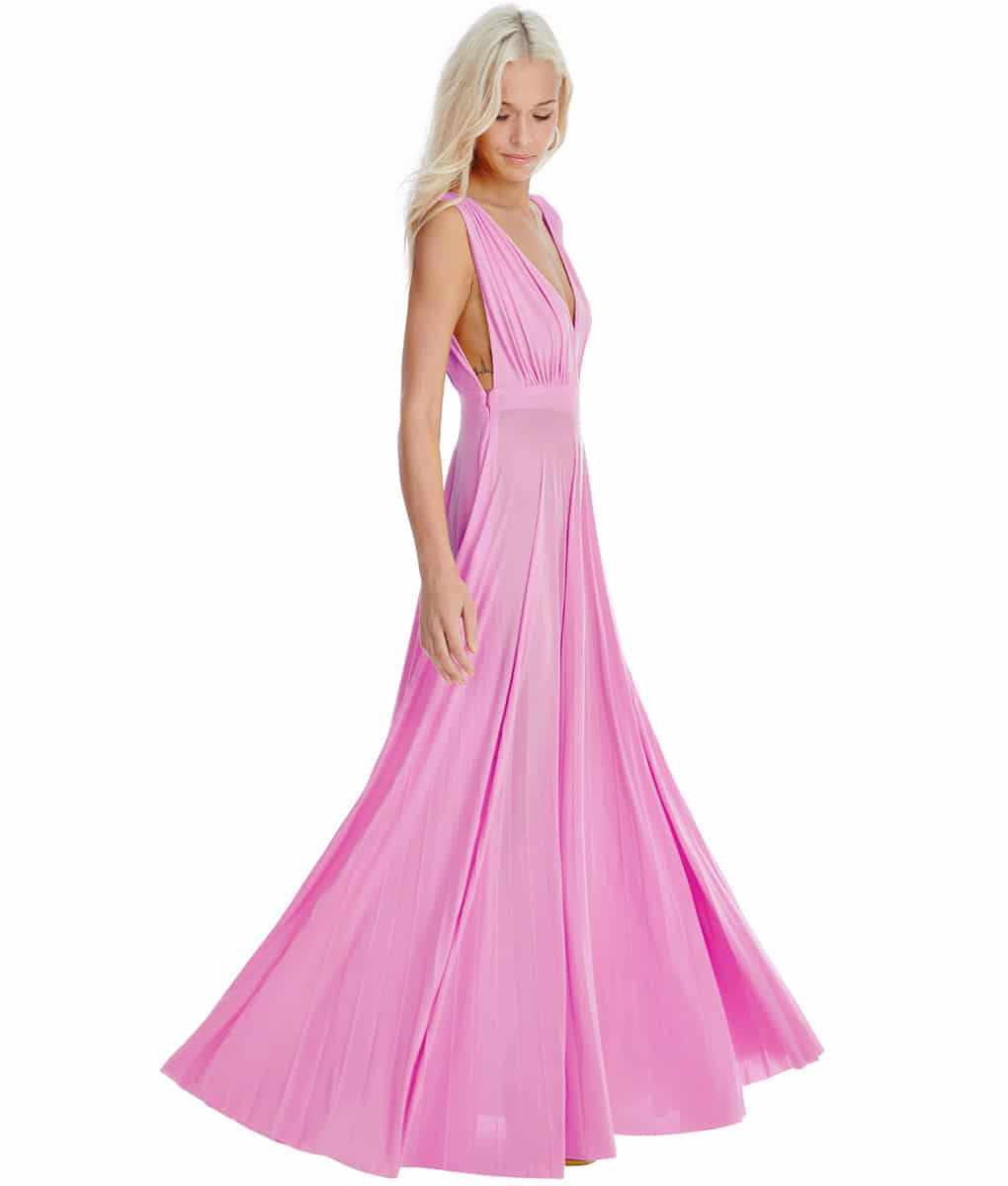 Alila-Pink-plunge-neck-debs-dress-city-goddess