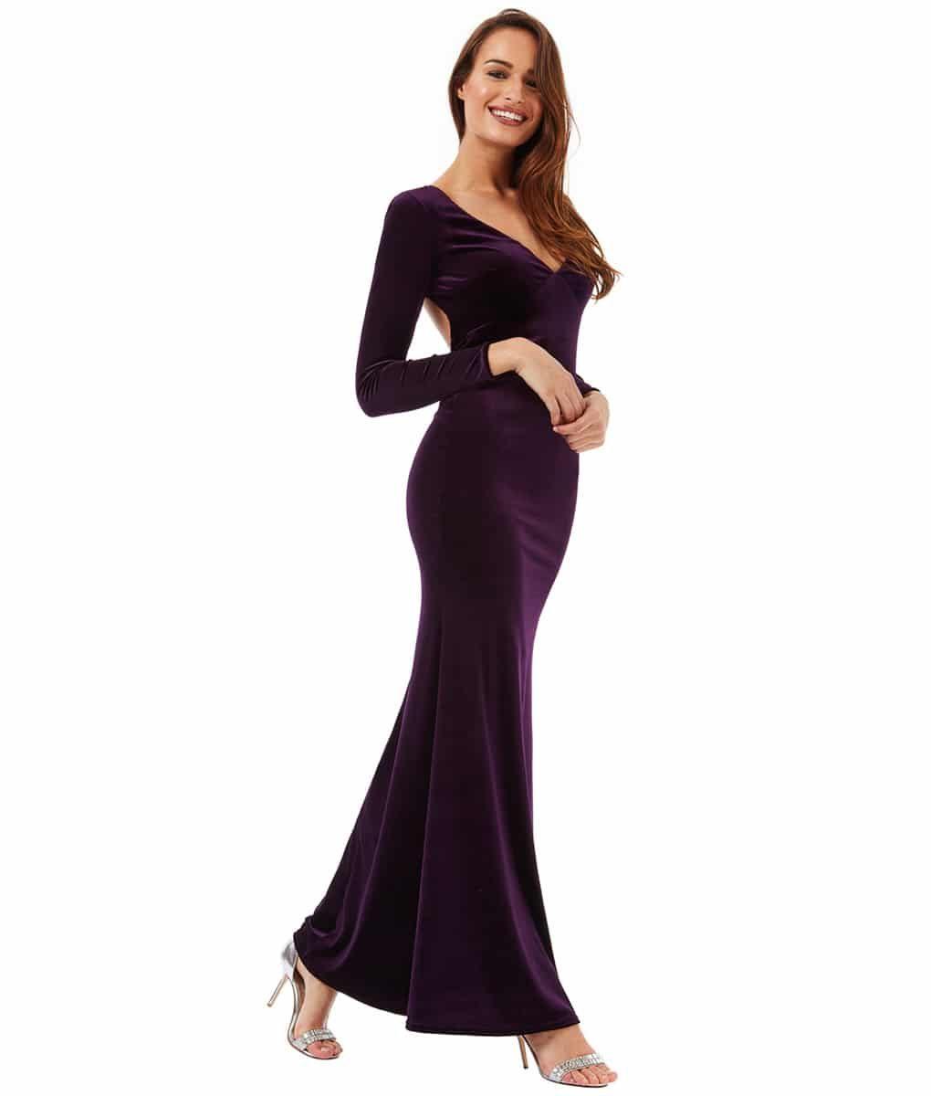 Alila Plum Velvet Gown City Goddess