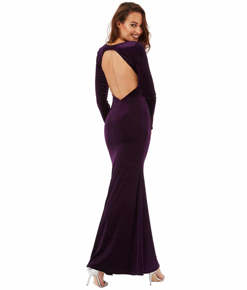 Alila-Plum-Velvet-open-back-long-dress-City-Goddess