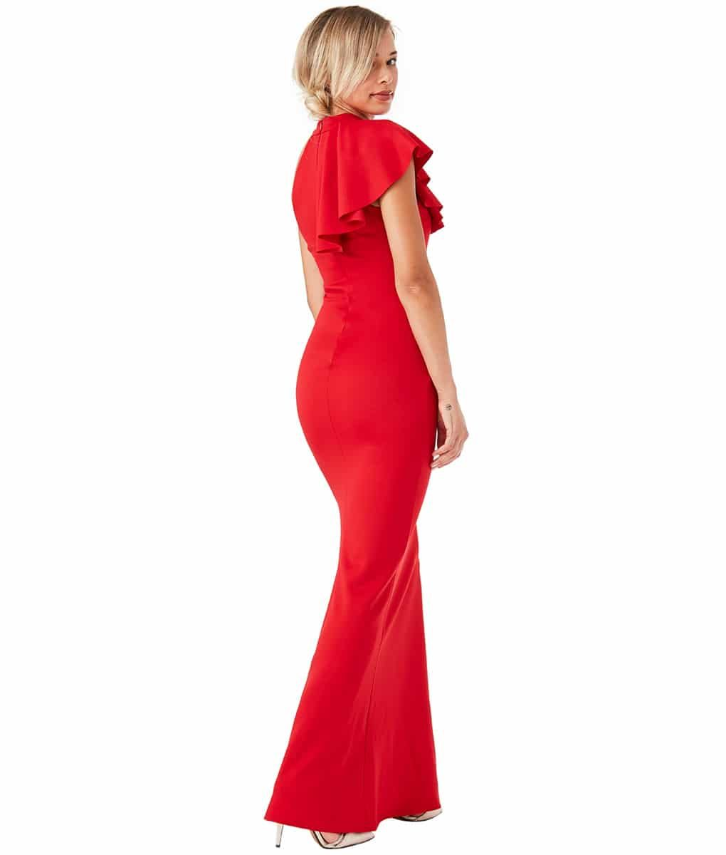 City Goddess - Red Ruffle Collar Gown - Alila