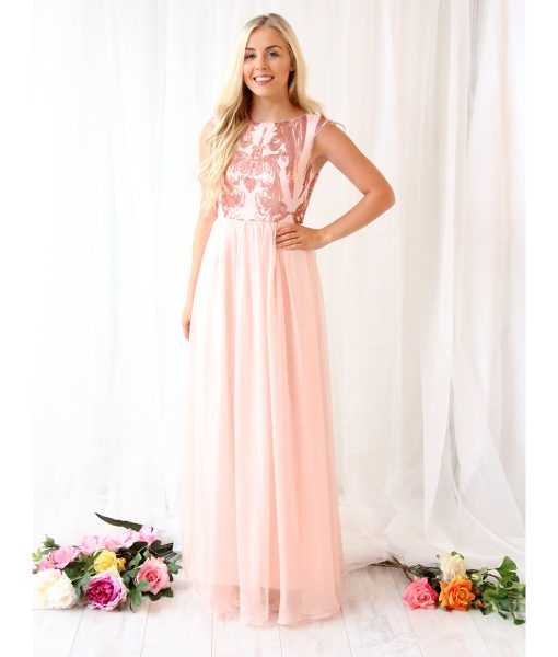 Alila Blush Pink Chiffon Sequin Gown