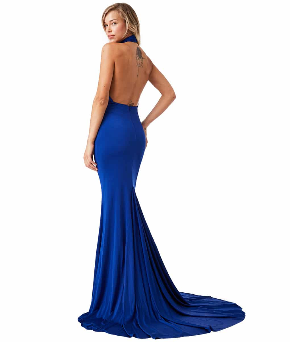 City Goddess - Blue High-Neck Gown | Alila Boutique