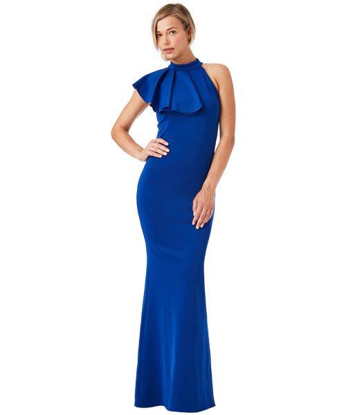 City Goddess - Sapphire Ruffle Collar Gown - Alila
