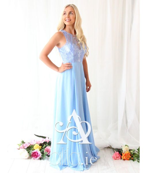 Alila sky blue chiffon lace gown