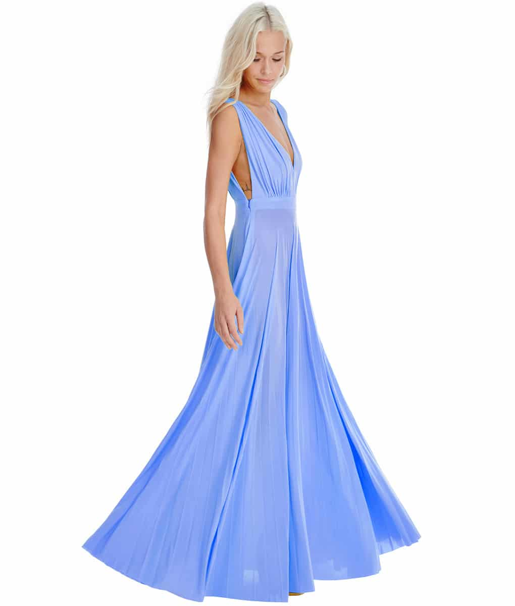 City Goddess - Pale Blue Plunge Gown - Alila