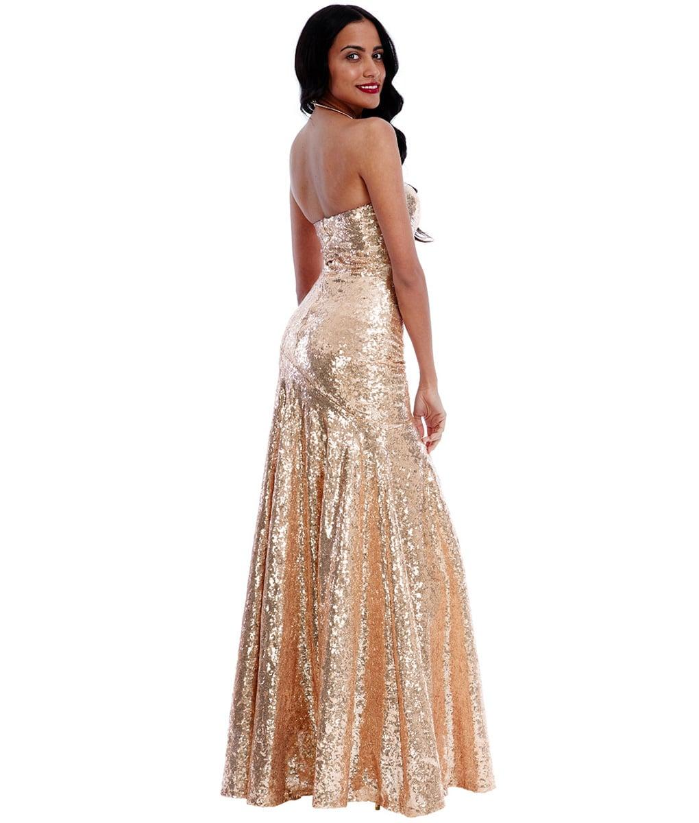 Alila-Chamagne-luxe-sequin-strapless-full-length-dress-city-goddess