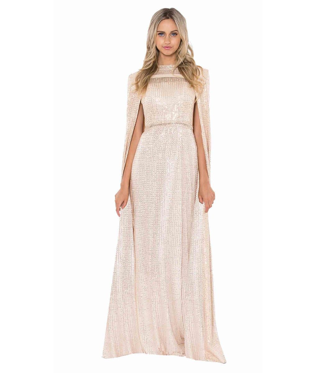 Alila-champagne-sequin-cape-and-gown-Bariano
