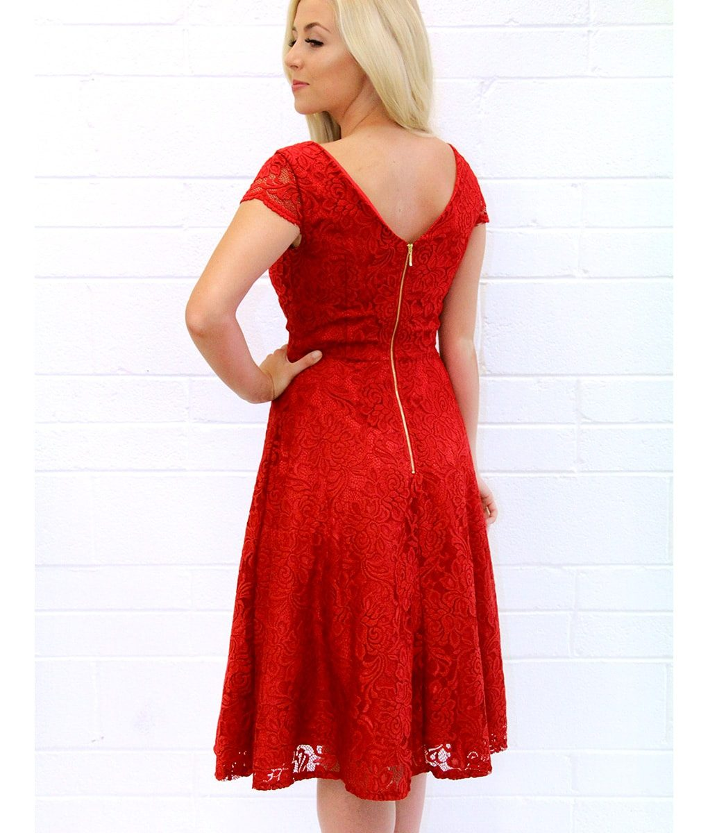 Jolie Moi Red Scalloped V-neck Cap Sleeve Lace Dress