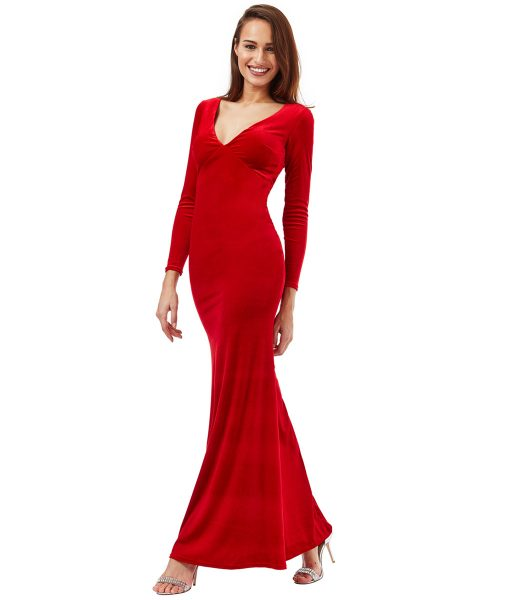 Alila-Red-Velvet-open-back-long-dress-City-Goddess