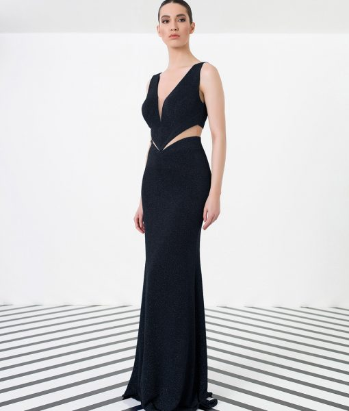 City Goddess - Black Shimmer Cut Out Gown - Alila Boutique