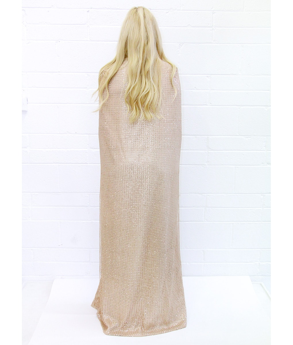 Alila-Champagne-Sequin-Cape-Gown-back-bariano