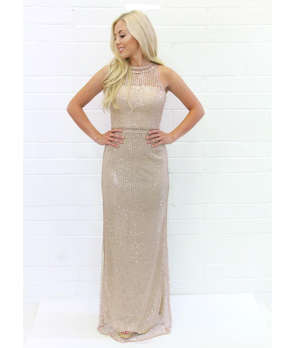 Bariano - Champagne Sequins Cape Gown | Alila Boutique
