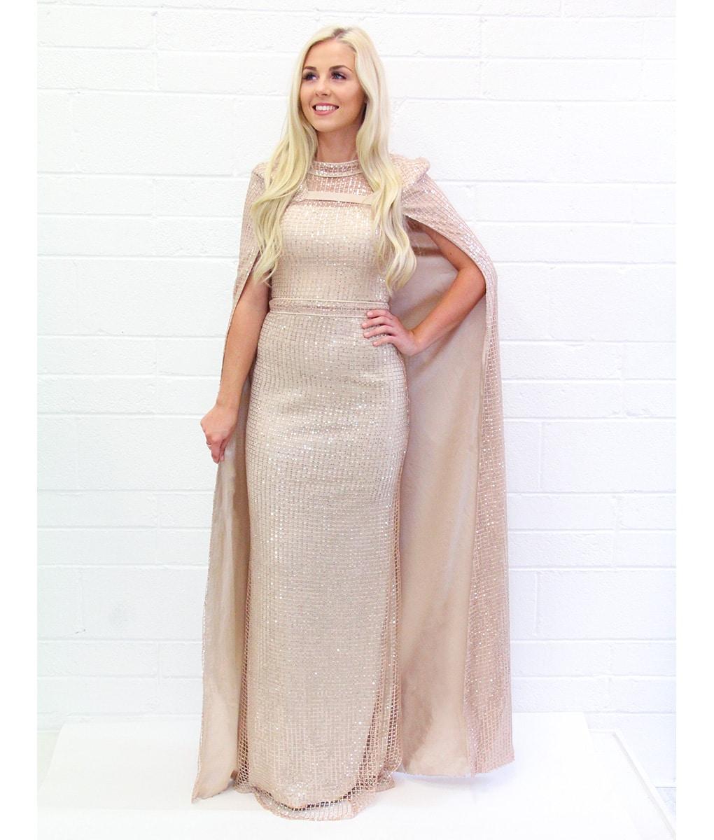 Alila-Champagne-Sequin-Cape-glam-dress-bariano