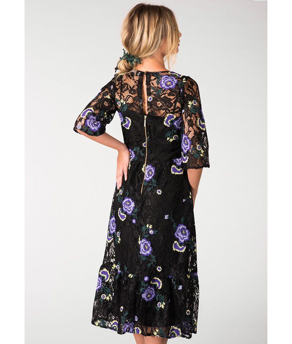 Closet London Floral Black Lace Dress Alila