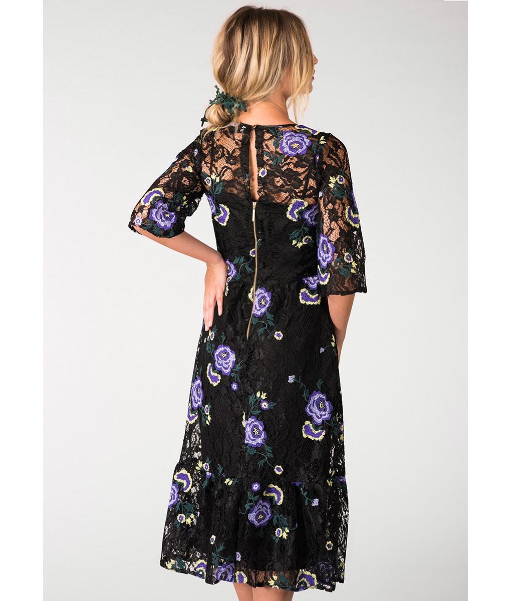 Alila-Lace-Frill-Hem-Embroidered-Midi-Dress-Closet-London