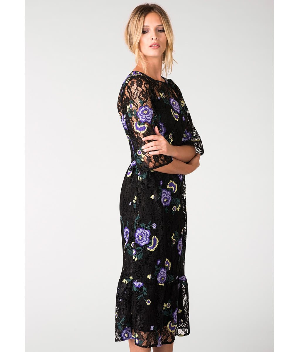 Closet London Floral Black Lace Dress Alila