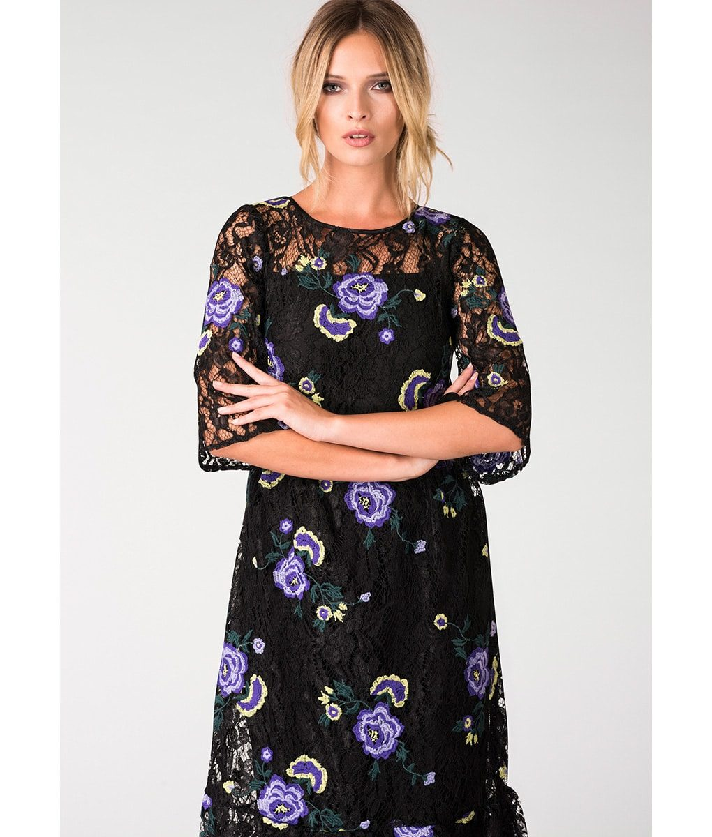 Alila-Lace-Frill-Hem-Embroidered-Midi-Dress-with-sleeves-Closet-London