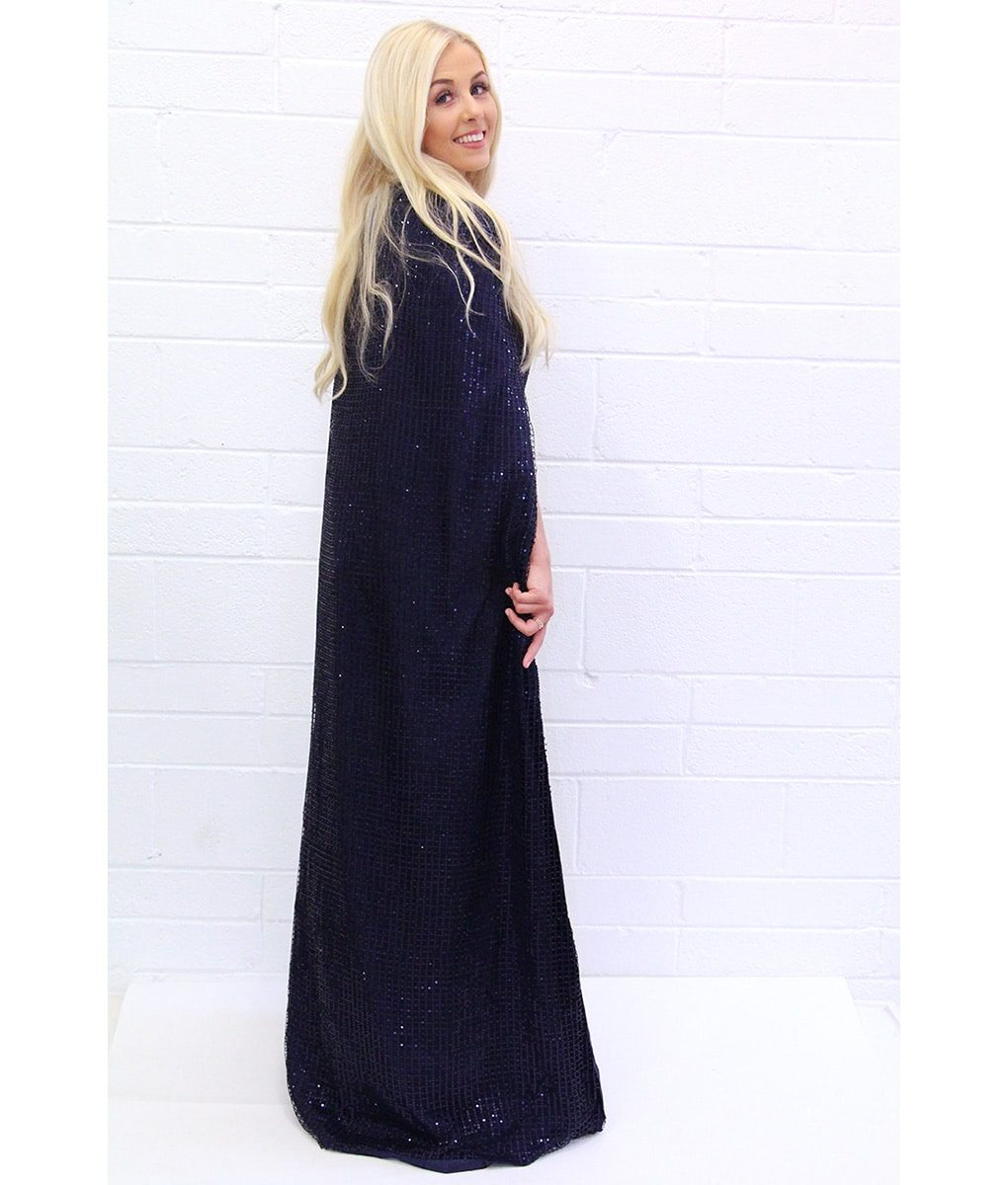 Alila-Navy-Sequin-Gown-Cape-Bariano