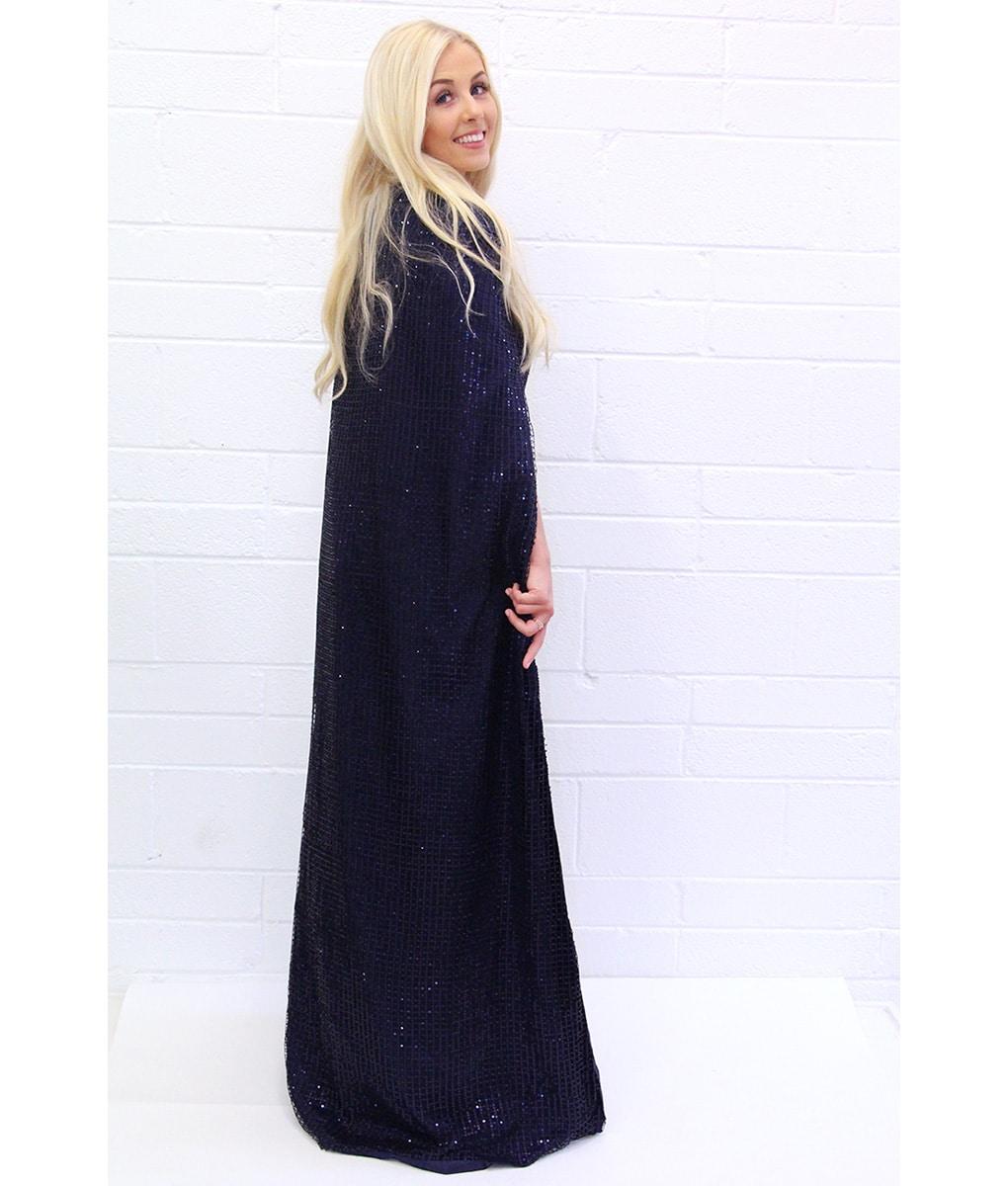 Alila-Navy-Sequin-Cape-dress-Bariano