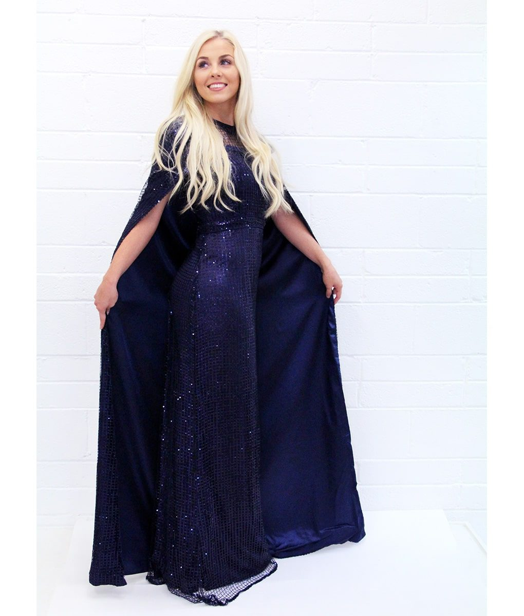 Alila-Navy-Sequin-Cape-evening-dress-Bariano