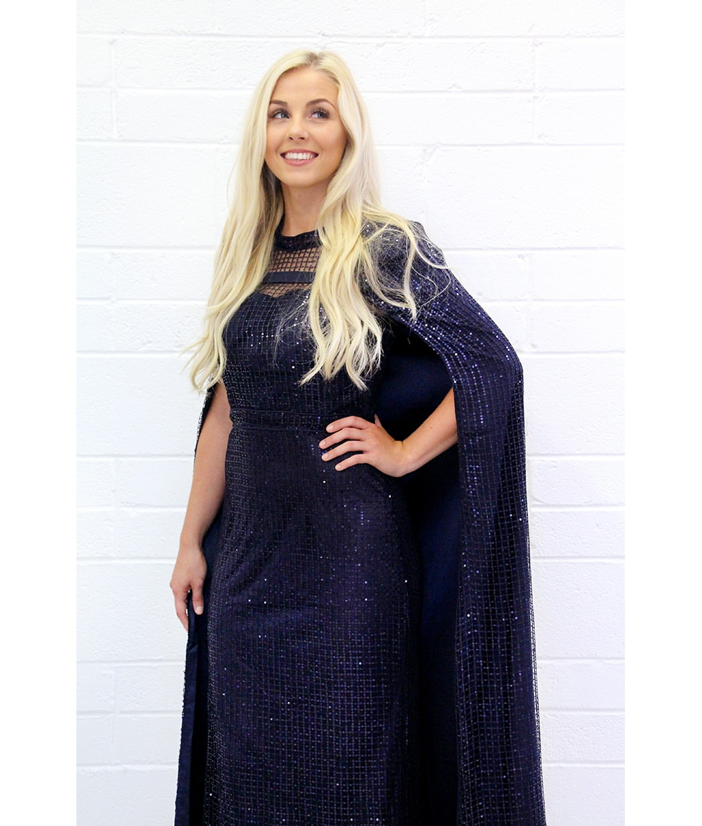 Alila-Navy-Sequin-Cape-evening-gown-Bariano